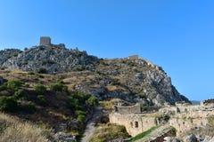 Agrocorinth,古老科林斯湾上城  图库摄影