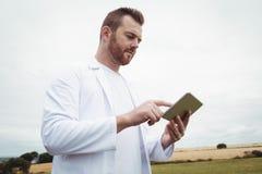 Agronom używa cyfrową pastylkę w polu Zdjęcia Royalty Free