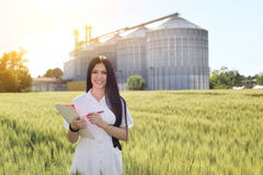 Agronomist in field with silos behind Stock Image