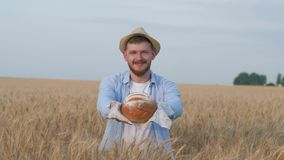 Agronomist grain grower, young man gives you delicious homemade bread smiling in grain harvest autumn meadow. Agronomist grain grower, young man gives you stock footage