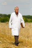 Agronomist on wheat field Royalty Free Stock Photos