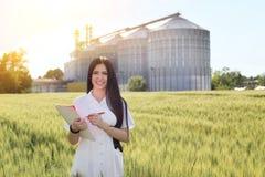 Agronomo nel campo con il silos dietro Immagine Stock
