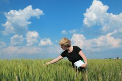 Agronomy. Female agricultural expert inspecting quality of wheat royalty free stock photos