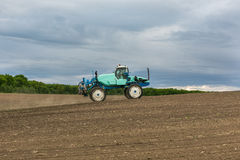 Agronomy agriculture machine tractor landscape. Agronomy agriculture machine tractor work the land stock image