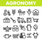 Agronomy Industry Vector Thin Line Icons Set stock illustration