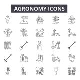 Agronomy line icons. Editable stroke signs. Concept icons: agriculture, farming, plant, farmer, crop, farm industry etc royalty free illustration