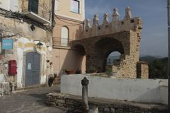 Agropoli. Old arches of entrance of the village of agropoli Stock Image