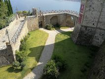 Agropoli - Moat of the Aragonese castle. Agropoli, Salerno, Campania, Italy - June 29, 2018: Panoramic view from the terrace of the Aragonese castle Stock Images