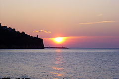 Agropoli sunset. A magic sunrise at agropoli in italy Royalty Free Stock Photos