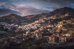 Agros wioska na górze Troodos gór Limassol okręg Fotografia Stock
