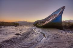 Aground at low tide. royalty free stock image