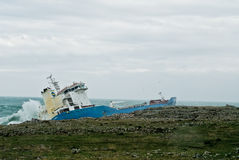 Aground petrol ship in Sicily Royalty Free Stock Photo