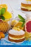 Agrume Victoria Sponge Cake avec le lait caillé de citron Image stock