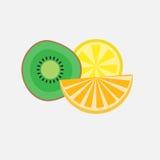 Agrumes Kiwi Orange Lemon Icon réglé Image libre de droits