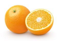 Agrumi arancio con la metà isolati su bianco Immagini Stock Libere da Diritti