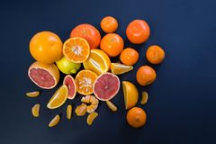 Agrumi colorati su un fondo blu scuro Fette di agrume e di buccia Citrus reticulata Citrus paradisi Citrus limon Immagini Stock Libere da Diritti