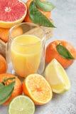 Agrumi e succo freschi Limoni, calce, clementine, pompelmo Fotografia Stock