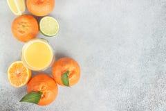 Agrumi freschi Limetta, mandarino, limone e succo Copi lo spazio Immagini Stock Libere da Diritti