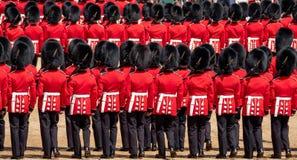 Agrupando-se a cerim?nia da cor em protetores de cavalo desfile, Westminster, Londres Reino Unido, com os soldados da divis?o do  fotografia de stock royalty free