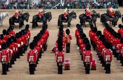 Agrupando-se a parada da cor nos protetores de cavalo, a Londres Reino Unido, com os soldados no uniforme ic?nico e em bearskins  fotografia de stock