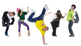 Agrupe al bailarín con el arranque de cinta Fotos de archivo libres de regalías