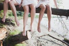 Agrupe as amigas do og que falam no parque, dia ensolarado do outono Fotos de Stock Royalty Free