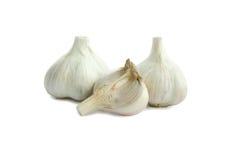 Agrupe a cabeça do bulbo do alho no fundo branco com sombra Imagem de Stock Royalty Free