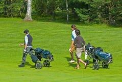 Agrupe jogadores de golfe no feeld do golfe Fotos de Stock