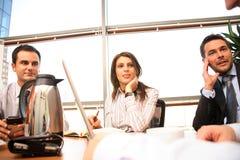 Agrupe a las personas del asunto que trabajan junto con la computadora portátil en oficina asoleada Imagen de archivo libre de regalías