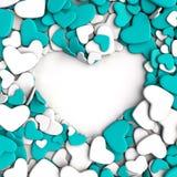 Agrupe los corazones azules y blancos en el fondo blanco Fotos de archivo