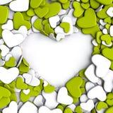 Agrupe los corazones de color verde amarillo y blancos en el fondo blanco Imagen de archivo libre de regalías