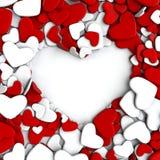 Agrupe los corazones rojos y blancos en el fondo blanco Imágenes de archivo libres de regalías