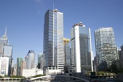 Agrupe los rascacielos modernos en la ciudad Hong-Kong China Asia fotos de archivo