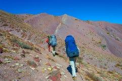 Agrupe a los trekkers que corren en el camino contra Leh Foto de archivo