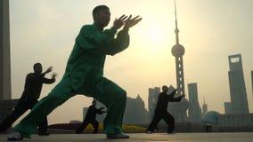 Agrupe o exercício com Tai Chi na barreira, Shanghai filme