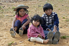 Agrupe o retrato de crianças bolivianas novas, Bolívia Fotografia de Stock Royalty Free