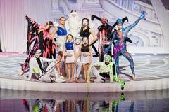 Agrupe o retrato de heróis principais do espetáculo musical Imagem de Stock Royalty Free