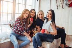 Agrupe os jovens bonitos que apreciam na conversação e no café bebendo, meninas dos melhores amigos junto que têm o divertimento Fotos de Stock