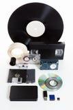 Agrupe os meios obsoletos e novos, a história do desenvolvimento imagens de stock