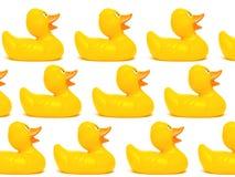 Agrupe os patos de borracha de um amarelo isolados em um fundo branco Fotografia de Stock