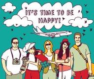 Agrupe a planície e o sinal felizes do céu das férias dos turistas ilustração stock