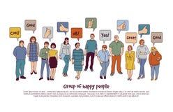 Agrupe povos e o sinal felizes como o isolado no branco Foto de Stock
