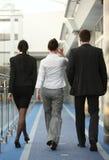 Agrupe três pessoas que falam o espaço de escritórios w Imagens de Stock