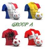 Agrupe un fútbol europeo 2016 stock de ilustración