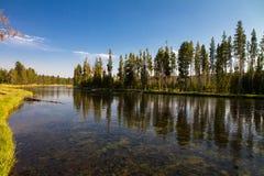 Agua, árboles y cielo Imágenes de archivo libres de regalías