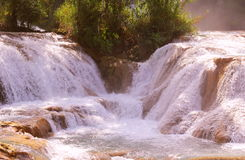 Agua azul cascades X. Agua Azul Waterfall near palenque, mexican state of chiapas royalty free stock photography