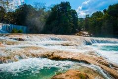 Agua Azul, Chiapas, Palenque, Meksyk Piękny krajobraz z siklawy i turkusu wodą Fotografia Stock