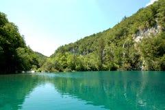 Agua azul clara y parque nacional del bosque de los lagos verdes Plitvice Imagenes de archivo