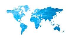 Agua azul con forma del mapa del mundo aislada en el fondo blanco imagen de archivo libre de regalías