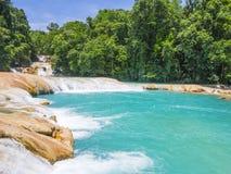 Agua Azul falls, Chiapas, Mexico. Turquoise water of Agua Azul falls, Chiapas, Mexico Stock Photo